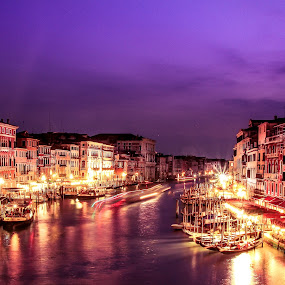 Venice by night by Camelia Cami - City,  Street & Park  Night ( water, gondola, boats, grand canal, venice, city lights, night, italy, creativity, lighting, art, artistic, purple, mood factory, lights, color, fun )