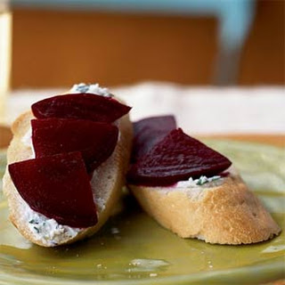 Beet and Goat Cheese Crostini.