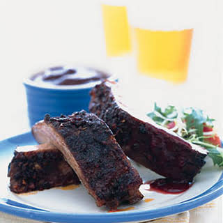 Baked Ribs with Spicy Blackberry Sauce.