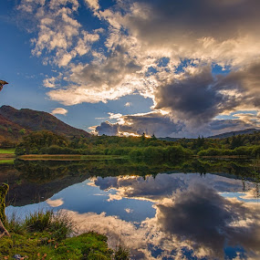 Rydal Reflections by Graham Kidd - Landscapes Waterscapes ( clouds, water, blue, green, reflections )
