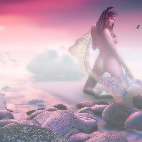 SettingTheSun by Felix M - Digital Art Places ( water, sun set, nude, ocean, kneeling, birds, girl, gorgeous, fog, violet, pelicans, pink, scarf, rocks )