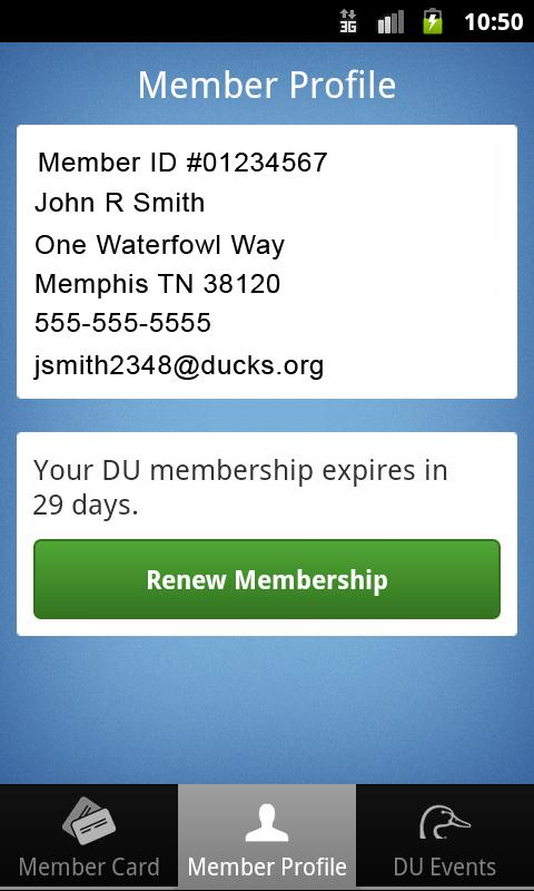 Ducks Unlimited Membership App- screenshot