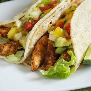 Blackened Swordfish Tacos w/ Mango Avocado Salsa.