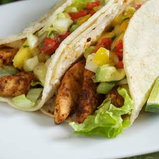 Blackened Swordfish Tacos w/ Mango Avocado Salsa.