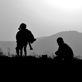 the day off by Shashank Sharma - Black & White Portraits & People ( b&w, village, sunset, childs, shapes )