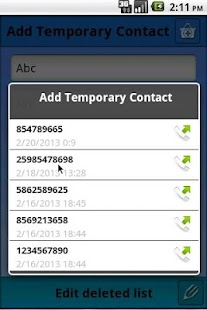 Temporary Contacts - screenshot thumbnail