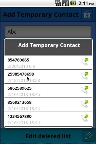 Temporary Contacts - screenshot