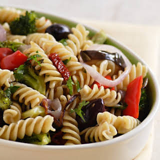 Whole Wheat Pasta with Roasted Vegetables and Olives.