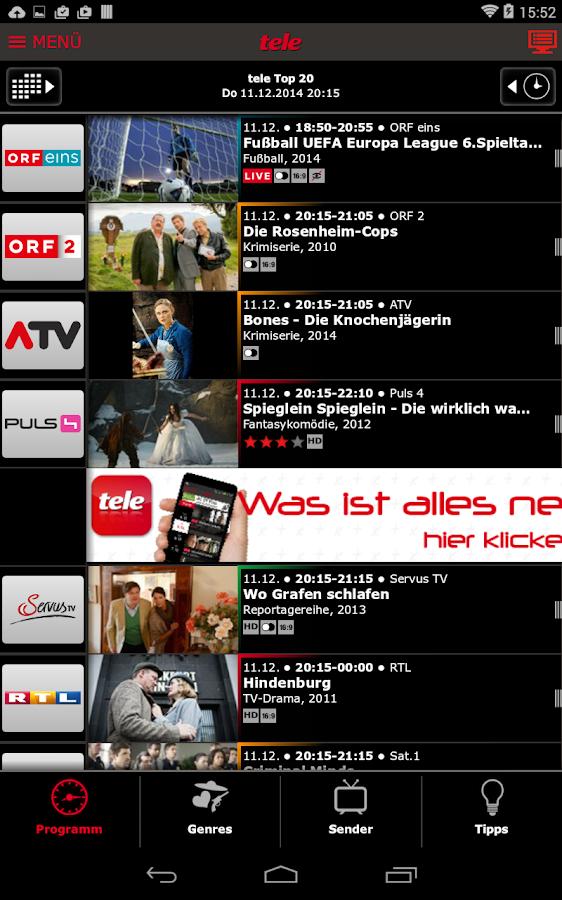 Google Fernsehprogramm