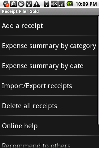 Receipt Filer Gold - screenshot