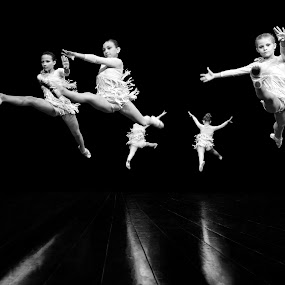 Daughters of  the Jump by Mladen Bozickovic - Babies & Children Children Candids ( dancing, girls, five, dancers, jumping, young, jump, flying, ballerinas, fly, ballet, group, dance, black )