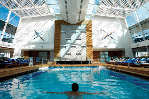Celebrity_Equinox_Solarium - The enclosed Solarium Pool is one several areas you can cool off in while cruising on Celebrity Equinox.