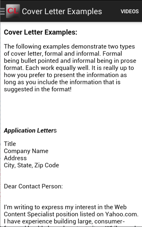 Cover Letter Android Apper P 229 Google Play