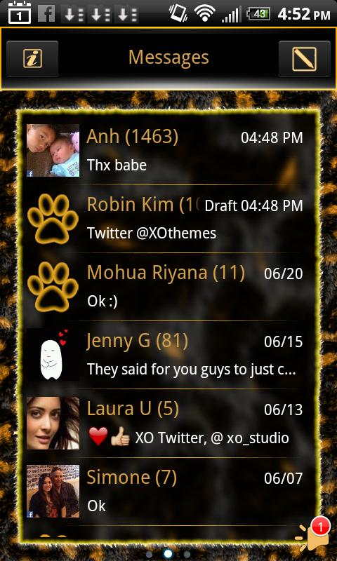 GO SMS Gold Leopard Theme Plus - screenshot