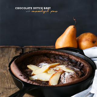 Chocolate Dutch Baby with Caramelized Pears.