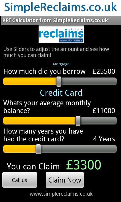 PPI Claim Calculator- screenshot
