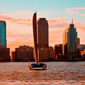 Hudson river sunset by Plamen Valkovski - City,  Street & Park  Skylines