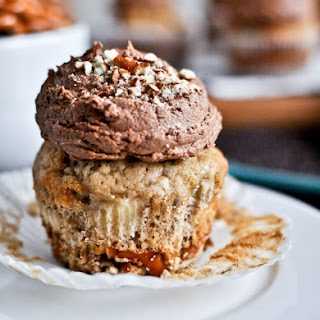 Pretzel Bottomed Banana Bread Cupcakes with Chocolate Peanut Butter Frosting.