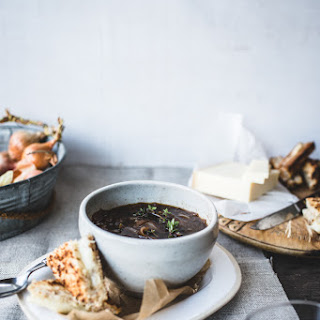 French Onion Soup with Mini Gruyère Toasties (aka mini grilled cheese!).