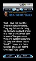Screenshot of Congressman Weiner Jokes