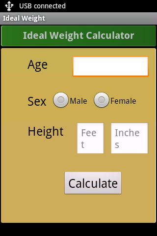 Ideal Weight Calculator - screenshot