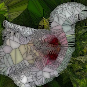 White Flower on the Lake by Maureen McDonald - Digital Art Abstract ( white flower, park, digital art, summer, flower, stained glass, kentucky,  )