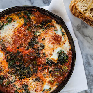 Farm Eggs with Braised Greens & Tomato
