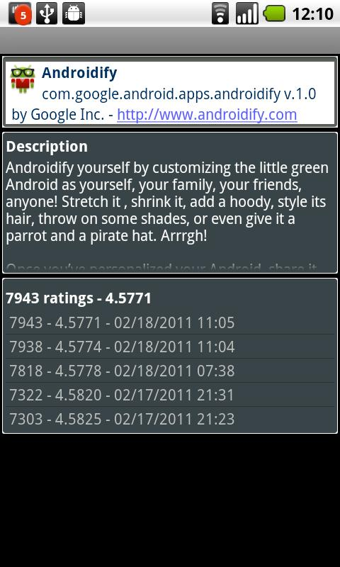 App Ratings - Android Stats - screenshot