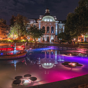 Midnight colors by Petar Shipchanov - City,  Street & Park  Night ( water, plovdiv, color, colors, fountain, municipality, night, bulgaria, nightscape, city at night, street at night, park at night, nightlife, night life, nighttime in the city )