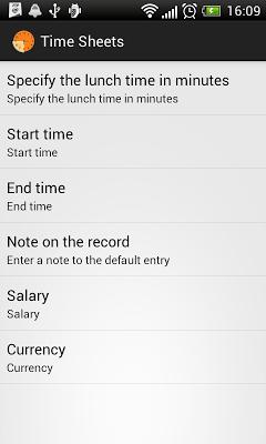 Time sheets - screenshot