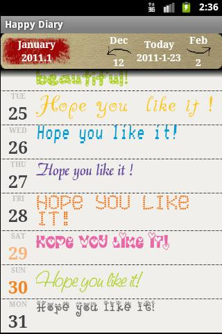 Happy Diary - screenshot