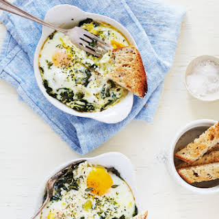 Baked Egg with Ricotta, Thyme & Chervil.
