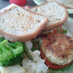 GF crab cake po-boy with steamed veggies