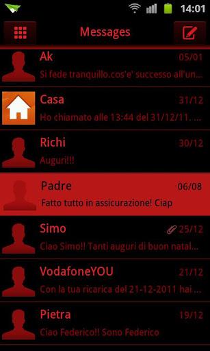 SMSテーマダークレッドブラックゴー