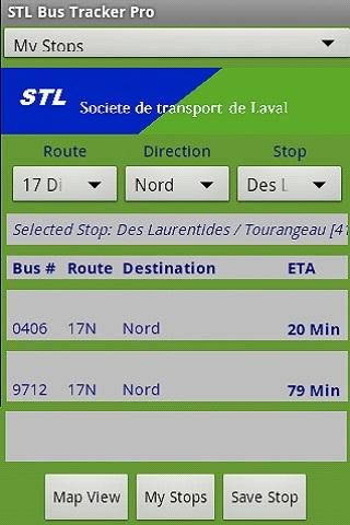 Laval STL Bus Tracker Pro - screenshot