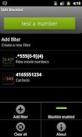 Screenshot of SMS Blacklist