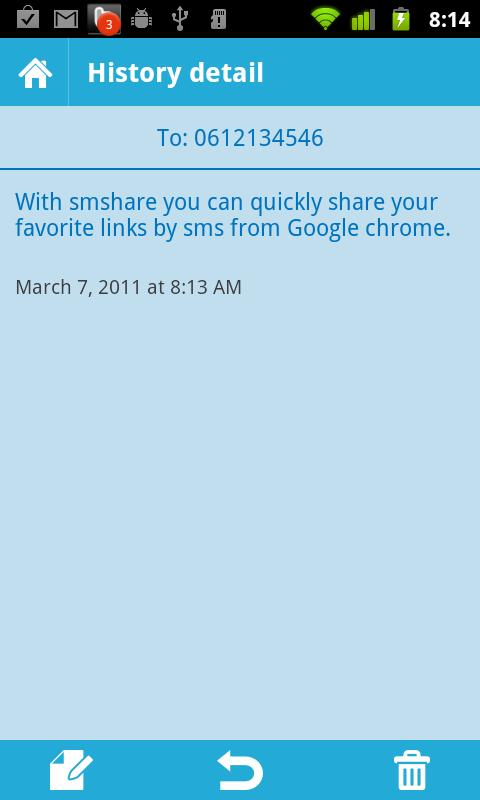 smshare - Send sms from Chrome - screenshot