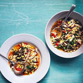 Chicken Soup With Orzo, Shredded Grape Leaves, Tomatoes, Lemon And Herbs.