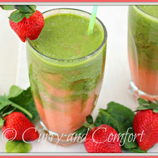 Strawberry Spinach and Pineapple Swirl Smoothie (Dairy Free).