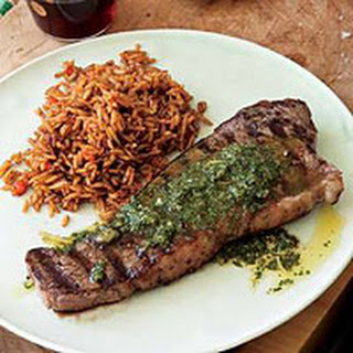 Chili Pilaf with Steak and Chimichurri