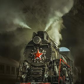 Old Soviet steam locomotive. by Dmitry Laudin - Transportation Trains ( steam locomotive, vintage, station, star )