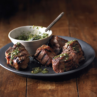Grilled Lamb Chops With Herb-Almond Pesto