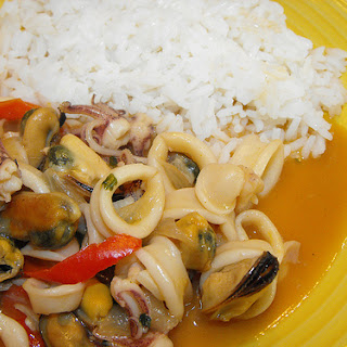 Squid with Seafood Cream Sauce.