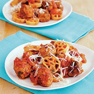 Mini Turkey Meatballs with Wagon Wheel Pasta.