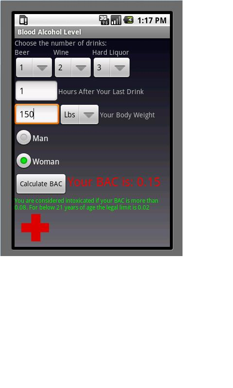 Blood Alcohol Calculator - screenshot