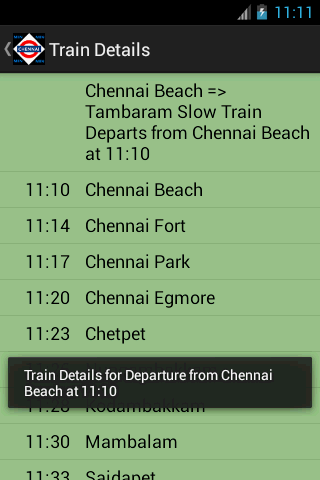 Chennai Local Train Timetable - screenshot