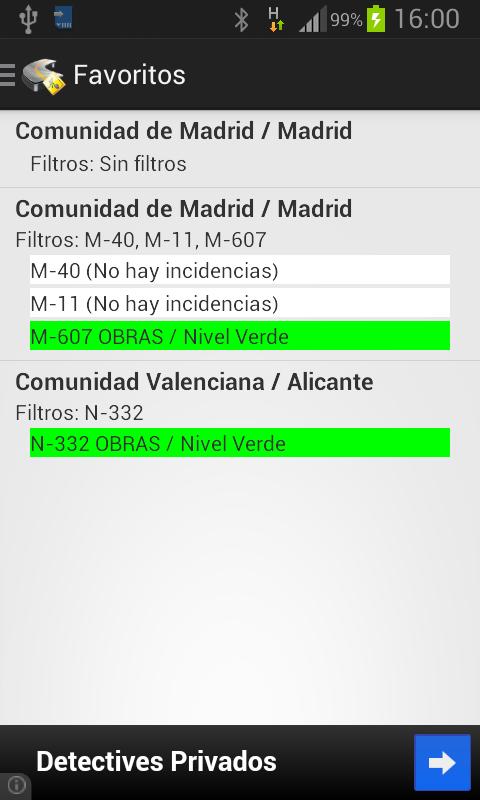 Información de carreteras - screenshot