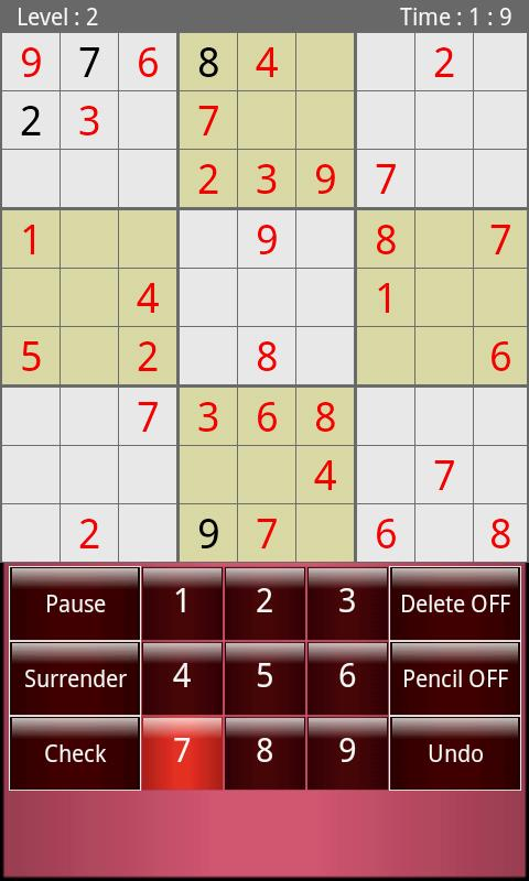 Tablet Sudoku - screenshot