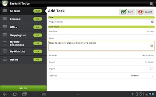 Screenshot of TNT Lite To-Do List