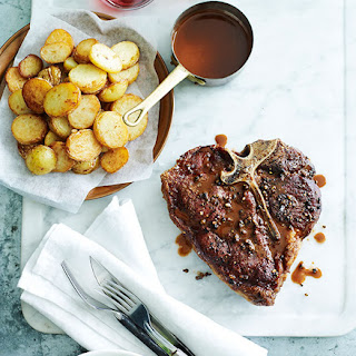 Grilled Pepper Steak With Fried Garlic Potatoes.